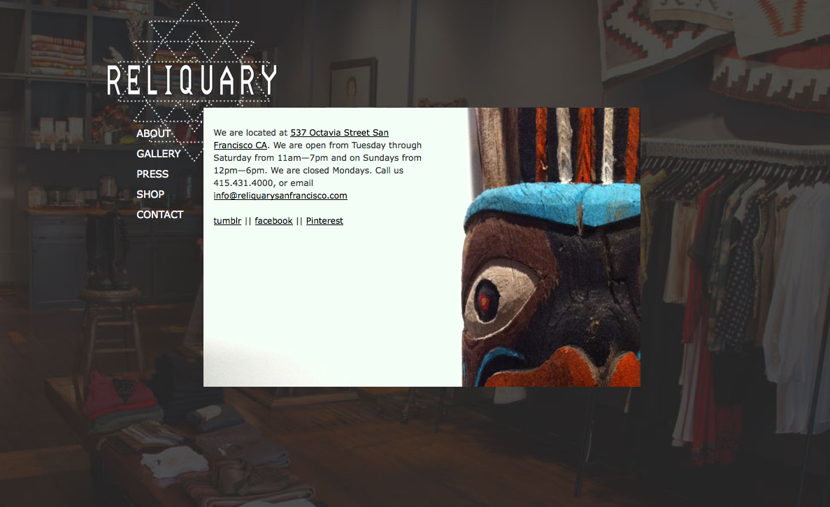 Reliquary contact page